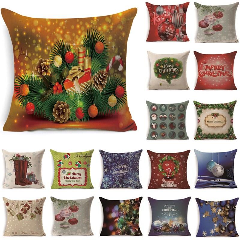1Pcs 43*43cm Christmas Gifts Flower Pattern Cotton Linen Throw Pillow Cushion Cover Car Home Sofa Decorative Pillowcase 40489