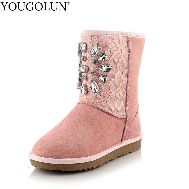 YOUGOLUN Snow Boots Winter Genuine Cow Suede Nubuck Leather Flat Shoes Pink Black Rhinestone Warm Mid-calf Boots #Y-248 ppnu woman winter nubuck genuine leather over the knee snow boots women fashion womens suede thigh high boots ladies shoes flats