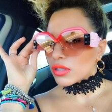 WOWSUN Luxury Sunglasses Brand Designer Ladies Oversized Fashion Mirror Sunglasses Women Half Frame Eyewear Lunette Femme A229