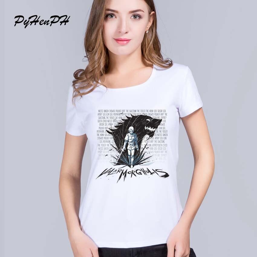 9c8ff881dc 2017 New Game of Thrones Camiseta Mulheres Criativo Espadachim e lobo  Imprimir Camiseta Para Feminino Tendência Verão de Manga Curta T-shirt