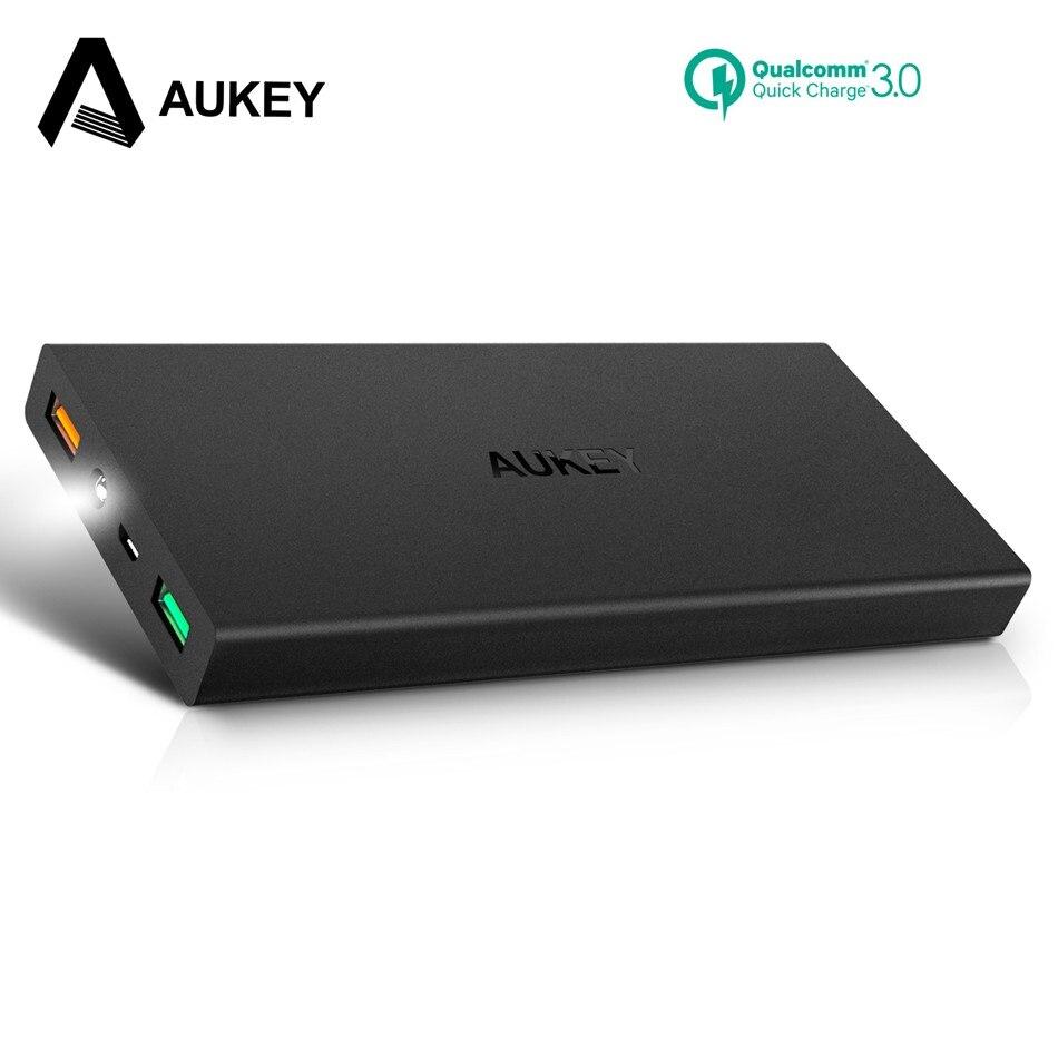 Aukey 16000 mAh carga rápida 3.0 Baterías portátiles dual USB batería externa portátil móvil rápido powerbank para xiaomi iphone samsung S8