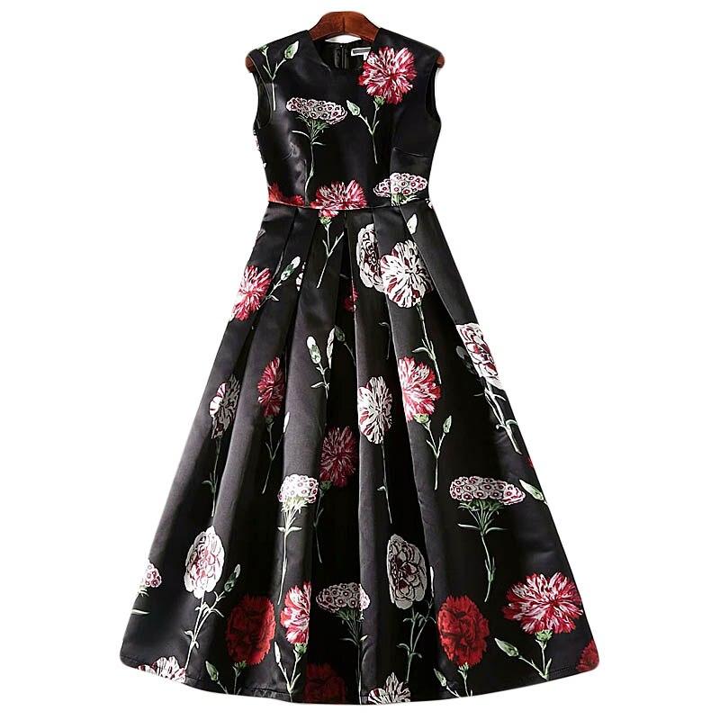 5XL Boho robe printemps et automne 2019 Rose fleur plissée fête robe de nuit Europe et amérique Vintage haute qualité robe Midi