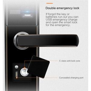 Image 5 - Cerradura electrónica inteligente para puerta, cerradura grande para puerta de seguridad interior, Control remoto mediante aplicación móvil, contraseña, huella digital, llave de emergencia