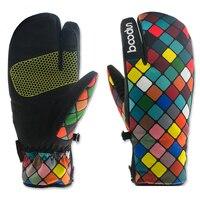 2018 Boodun Womens Winter Thermal Ladies Ski Gloves Three Finger Telefingers Luvas Waterproof Warm Snowboard Glove