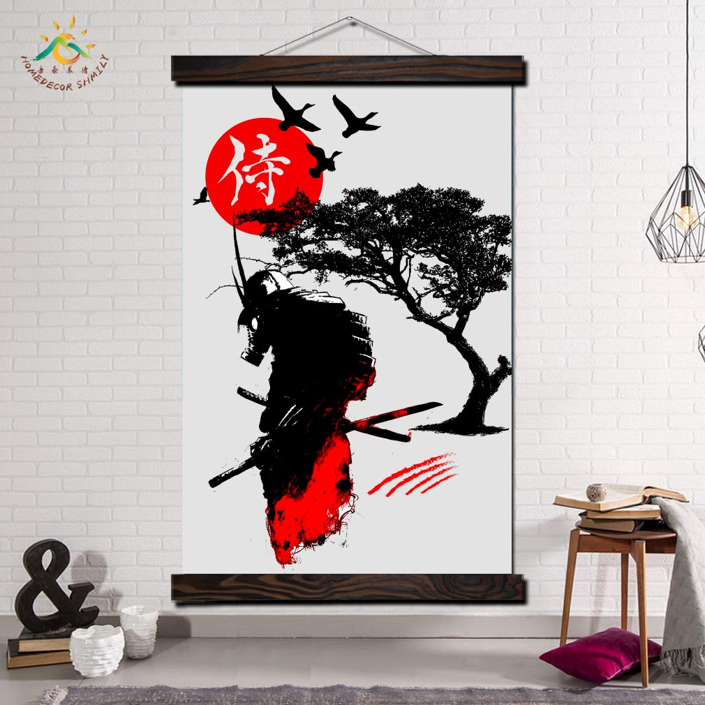 Japan Samurai Black Art Modern Wall Art Print Pop Art Posters and Prints Scroll Canvas Painting Wall Pictures for Living Room in Painting Calligraphy from Home Garden