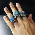 WT-R237 Новые WKT кольца дизайн природный лабрадорит шестиугольной формы с красочными натуральной кожи сырье камень горный хрусталь кольца