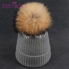 New Winter Lady Gilding Knit Wool Warm Hat Fashion Pom Pom Real Raccoon Leather Hat Skullies Hats Print For Women Fur Ca