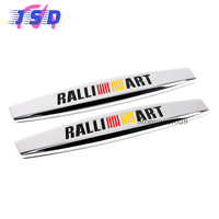 Car Styling Metal Badage Emblem Side Fender Stickers Auto Decorative Decals RALLIART For Mitsubishi Outlander ASX