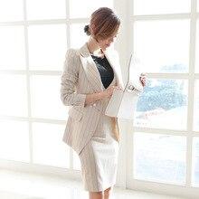 2018 Elegant stripe Office suits Women's Single Button Suit+dress Office lady 2 Piece Sets OL Formal Work Wear Business suits