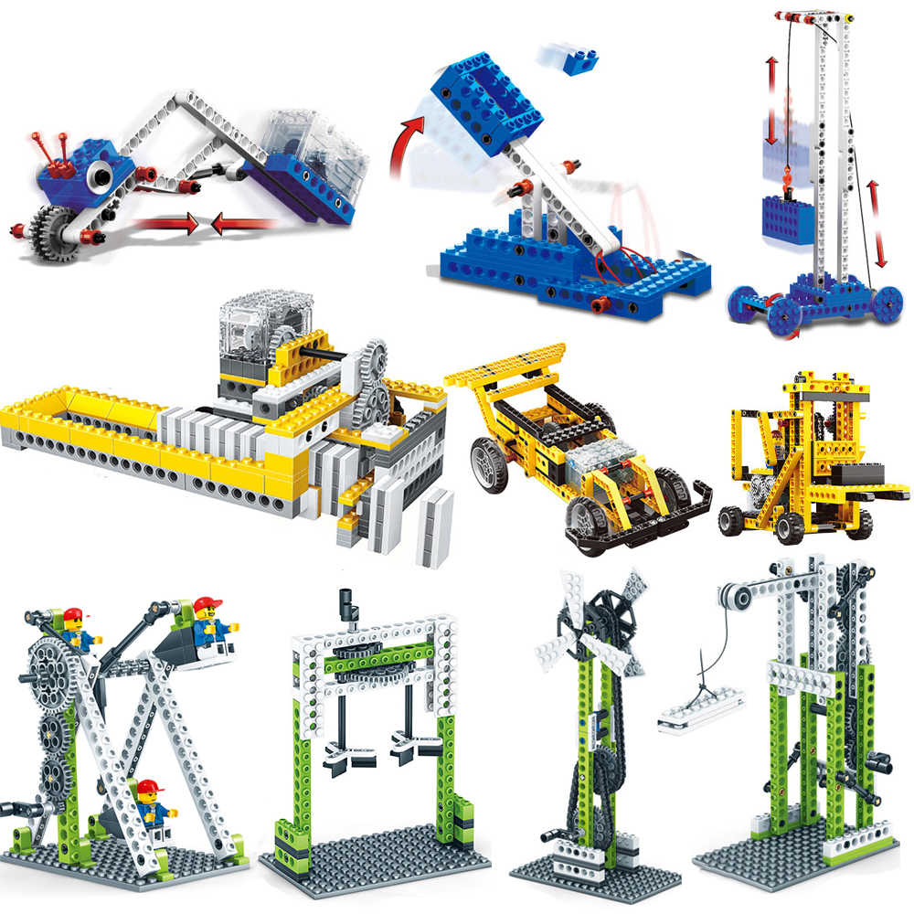 Wange Power Machinery 1402 Electric gear domino Building Blocks DIY Model Bricks Toys gift Compatible legoed technic series boy