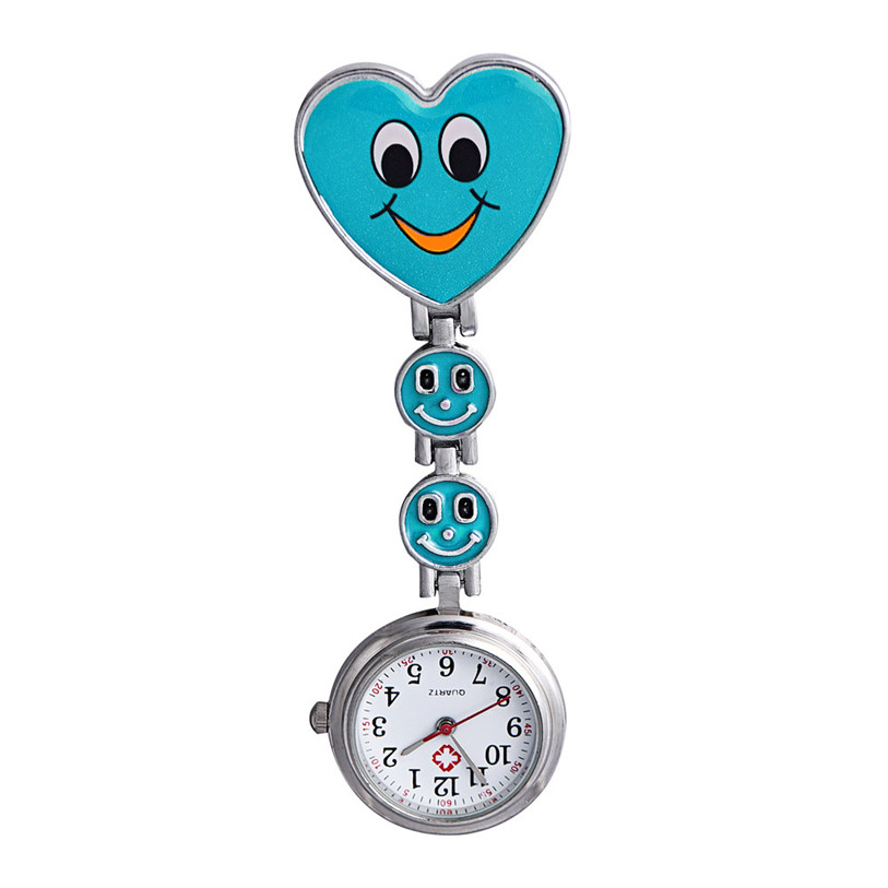 Hot 2017 New Fashion Superior Women's Smiling Face Heart Clip-On Pendant Nurse Brooch High Quality Pocket Watch Levert Dropship