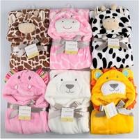 Cute Animal Shape Baby Hooded Bathrobe Bath Towel Baby Fleece Receiving Blanket Neonatal Hold To Be