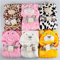 cute Animal shape baby hooded bathrobe bath towel baby fleece receiving blanket neonatal hold to be Children kids infant bathing