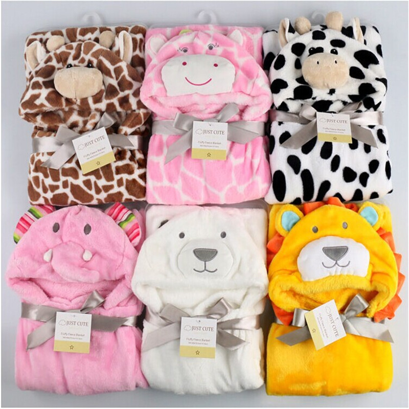 cute Animal shape baby hooded bathrobe bath towel baby fleece receiving <font><b>blanket</b></font> neonatal hold to be Children kids infant bathing