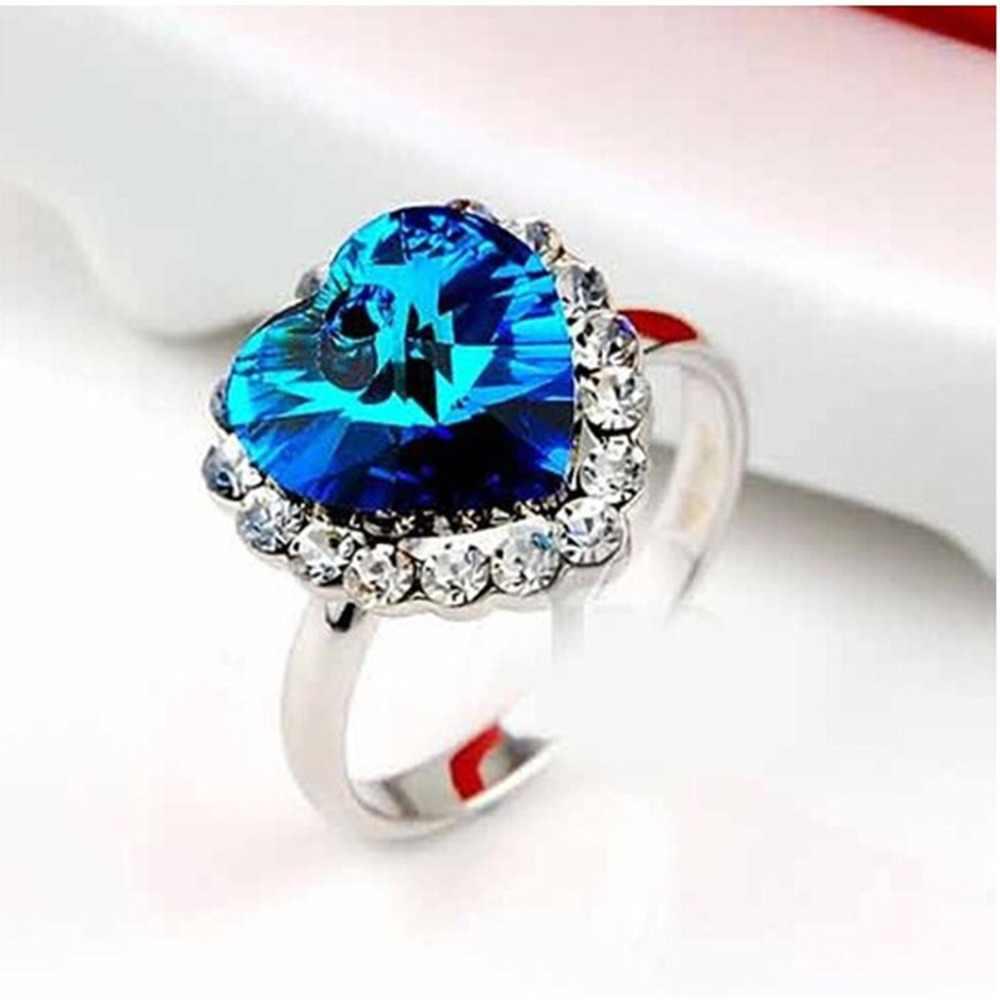 ร้อน LNRRABC ใหม่รูปหัวใจออสเตรียคริสตัล Rhinestones แหวนหมั้นสำหรับผู้หญิงงานแต่งงานของขวัญ