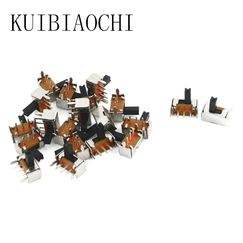 WuLian 50 Pcs SS12D00G3 2 Position SPDT 1P2T 3 Pin PCB Panel Mini Vertical Slide Switch