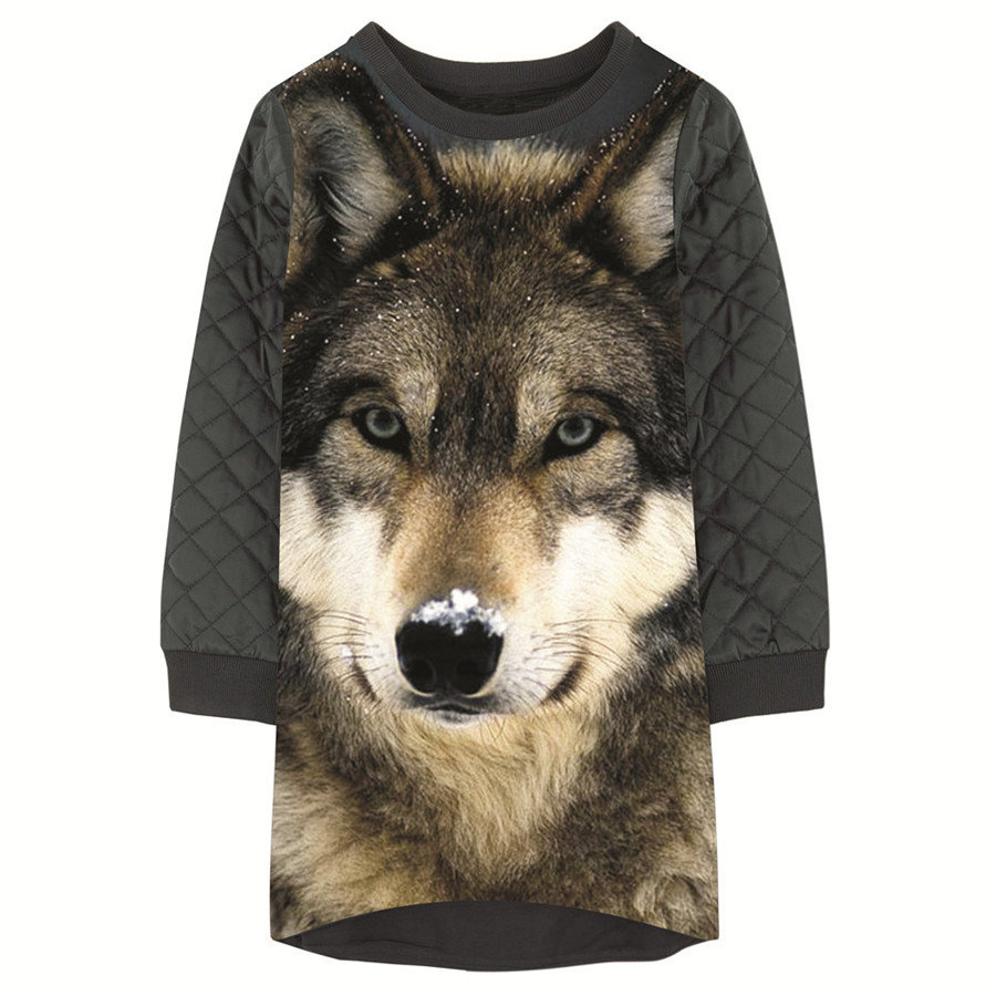 Girls Dresses The Wolf nice Print Children winter Designer