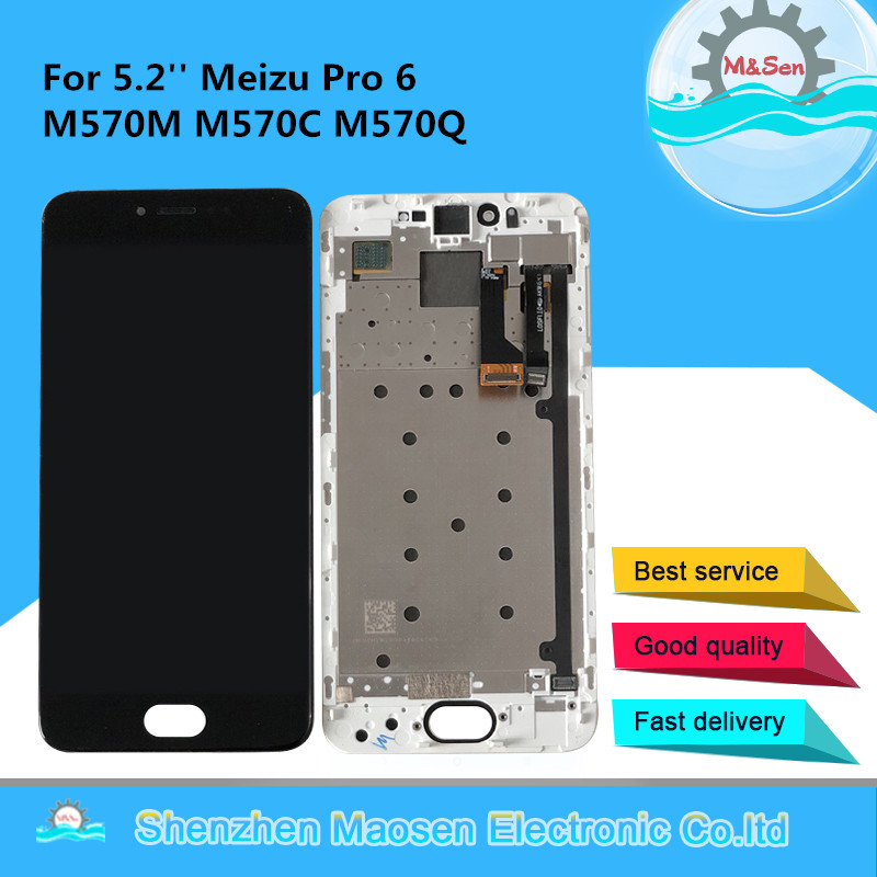 5.2'' Original M&Sen For Meizu Pro 6 M570M M570C M570Q Supor AMOLED LCD Display Screen+ Touch Panel Digitizer Frame For Pro6