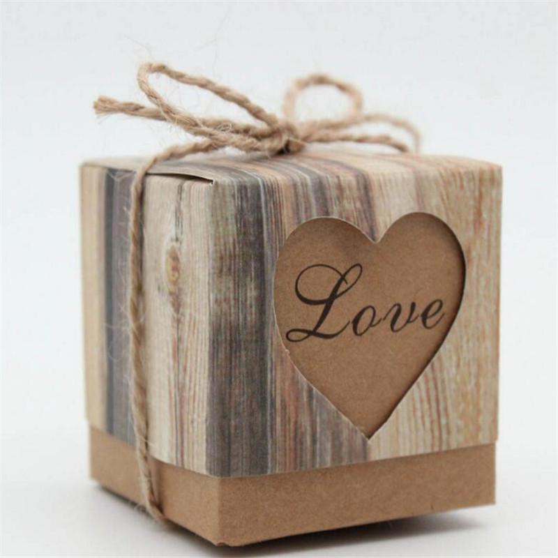 1pc Romantic Heart Candy Box For Wedding Decoration Vintage Kraft Wedding Favors And Gifts Box With Burlap Twine Chic