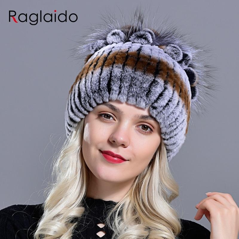 Raglaido Fur Hats for Women Winter Real Rex Rabbit Hat floral kniting female warm snow caps ladies elegant princess hat LQ11299 3