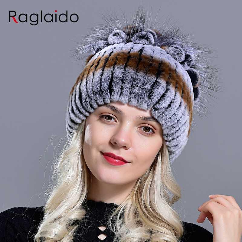 Gorros de piel Raglaido para mujer invierno Real Rex conejo sombrero floral tejido femenino cálido nieve gorras señoras elegante princesa sombrero LQ11299