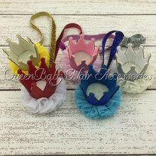 10pcs/lot Baby Glitter Felt Crown Headband New Born Birthday LL1564