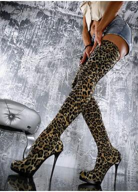 Hot Fashion Leopard PU Over the Knee Shoes Pointed Toe Thin Heels Women 39 s Shoes Platform Big Size Sexy Women 39 s Boots in Over the Knee Boots from Shoes