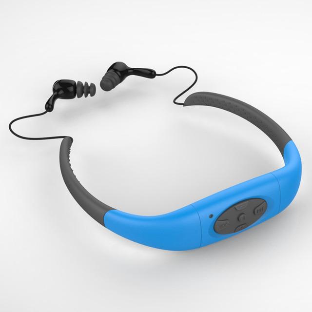 Banda Para El Cuello Deportes impermeable 4 GB Reproductor de Música MP3 Bajo El Agua Natación Buceo con FM Radio de Auriculares Estéreo de Audio Para Auriculares
