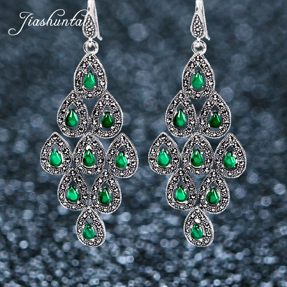 JIASHUNTAI Silver 925 Earrings for Women Red Green Large Peacock Earrings 925 Sterling Silver Jewelry Female