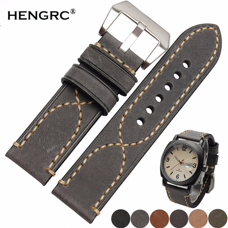 Italy Genuine Leather Watch Band Strap Men Cowhide Thick Watchband Belt Lady 20mm 22mm 24mm Bracelet Metal Buckle For PaneraiItaly Genuine Leather Watch Band Strap Men Cowhide Thick Watchband Belt Lady 20mm 22mm 24mm Bracelet Metal Buckle For Panerai