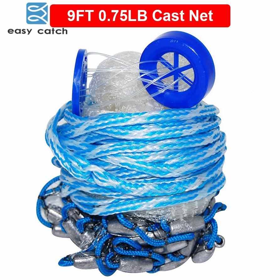 Easy Catch 9 Feet Radius 0,75LB Fishing Cast Net American Heavy Duty Skutečné olověné závaží Ruční vrhací pasti Čistá síť s kbelíkem