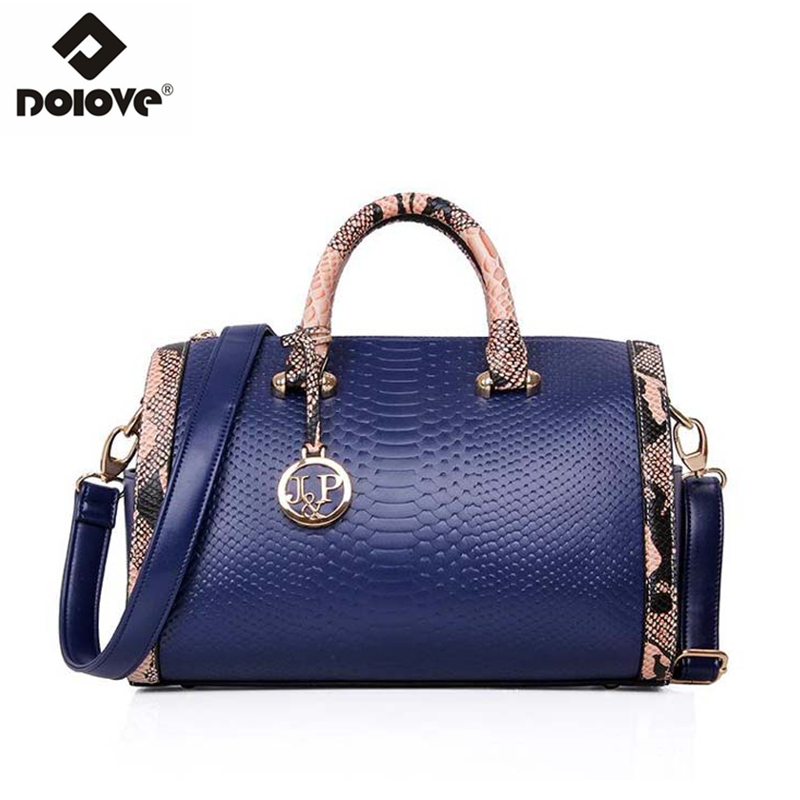 DOLOVE 2018 New Korean Women Fashion Handbags Women Bags Shoulder Diagonal Crocodile Boston Bags Women Messenger Bags tote bag