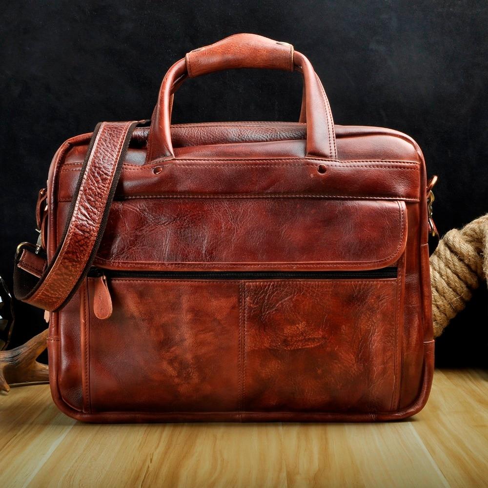 Männer Öl Wachsartige Leder Antike Design Business Aktentasche Laptop Dokument Fall Mode Attache Messenger Tasche Tote Portfolio 7146c-in Aktentaschen aus Gepäck & Taschen bei  Gruppe 2