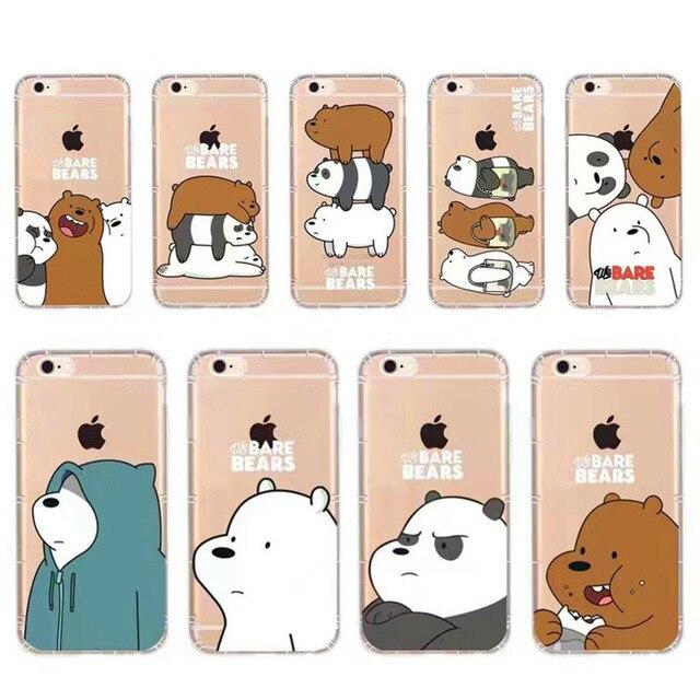 น่ารักการ์ตูนแอนิเมชั่กรณีโทรศัพท์สำหรับiphone 7พลัส6 plus 5วินาทีเราเปลือยหมีสีเทาและแพนด้าและน้ำแข็งหมีข้นSoft TPUปกหลัง