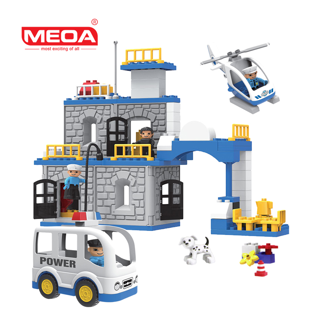 цены 90 PCS Police Theme Big Bricks Duplo Building Blocks Educational Toy DIY Baby Toys Building Set Compatible with Legoeds