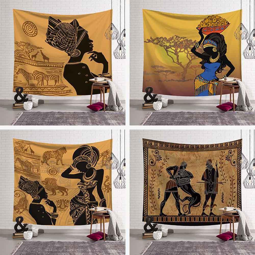 <+>  1 ШТ. 150x130 см / 203x150 см Винтажный Стиль Африканский Женский Стены Искусства Декора Висит Гобел ✔