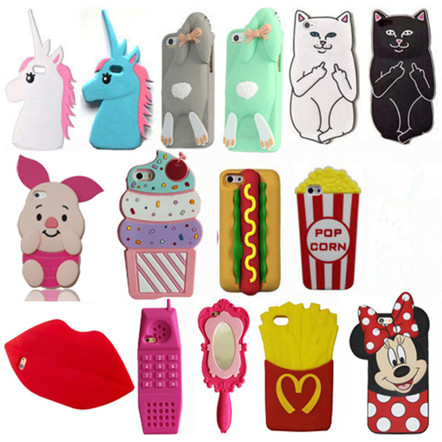 3D Cartoon Minnie Cat Sulley Stitch Unicorn Soft Silicone Cover For iPhone 5 5s SE 5C 6 6s 7 8 Plus X XR Xs Max Phone Case Coque