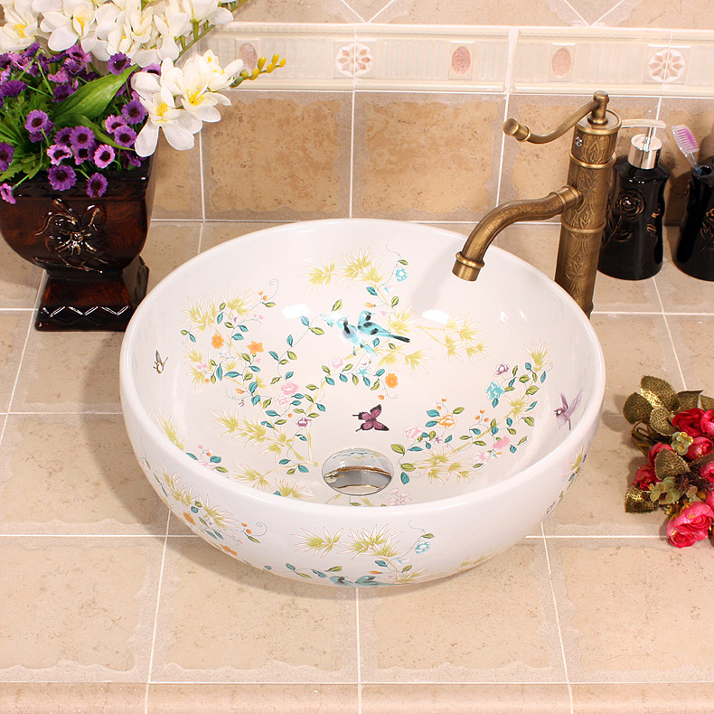 China Painting Flowers And Birds Ceramic Painting Art Lavabo Bathroom  Vessel Sinks Round Counter Top Mini