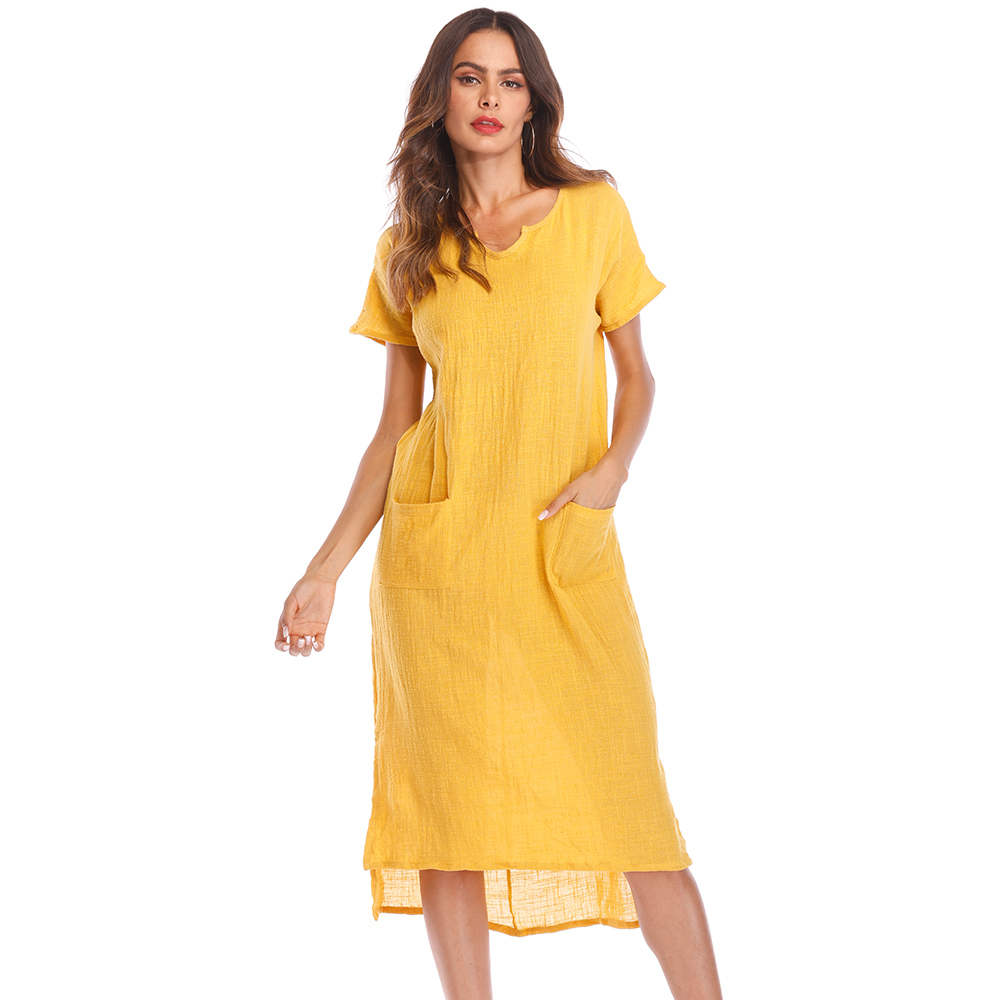 Big Size Vintage Short Sleeve Cotton Dress Women Loose O Neck Belt Pockets Office Dresses Female Long Summer Dress 4XL 5XL ...