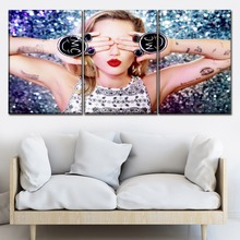 Canvas Painting 3 Pieces Celebrities Miley Cyrus Modern Printing Type Poster For Living Room Home Decor Wall Art Modular Picture