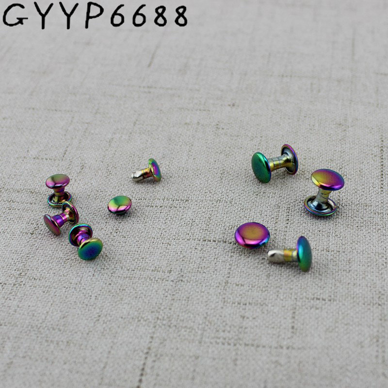10pcs  6*6mm 8*8mm Iridescent High Quality Button Round Head Rivet Stud For Shoes, DIY Metal Screw Rivet Rated  Based On