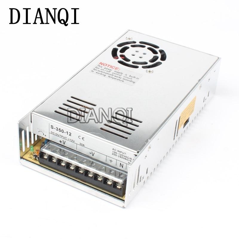 DIANQI led power supply switch 350W 12v 30A ac dc converter S-350w 12v variable dc voltage regulator S-350-12 20pcs 350w 12v 29a power supply 12v 29a 350w ac dc 100 240v s 350 12 dc12v