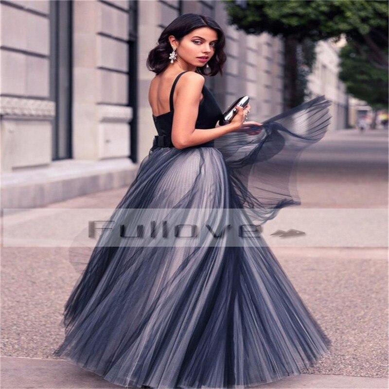 Noir Longo Casamento Tulle Formelle Made Satin Para V Longues Moderne 2019 Robe custom A ligne Bal Robes De Noir Drapée Soirée cou gy7bfmIY6v