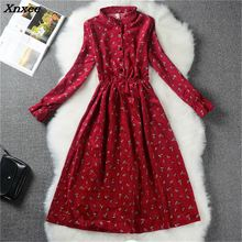 s-xl Floral Print Slim Cute Stand Collar Single Breasted Pleated Dress Women Vintage Autumn Spring Dress Ladies dress Xnxee nine west women s floral stripe pleated dress