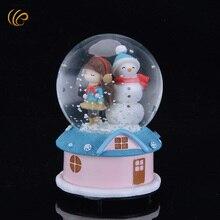 Фотография 2016 Rotary Crystal Ball Music Box Take Hat Christmas Snowman Hand Cranked Music Boxes Crystal Glass Snow Globe Ball Natal Gift