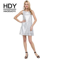 HDY Haoduoyi Silver Sequins Sleeveless Tank Dress Party Clubwear Cocktail Short Mini Dresses Sexy O Neck