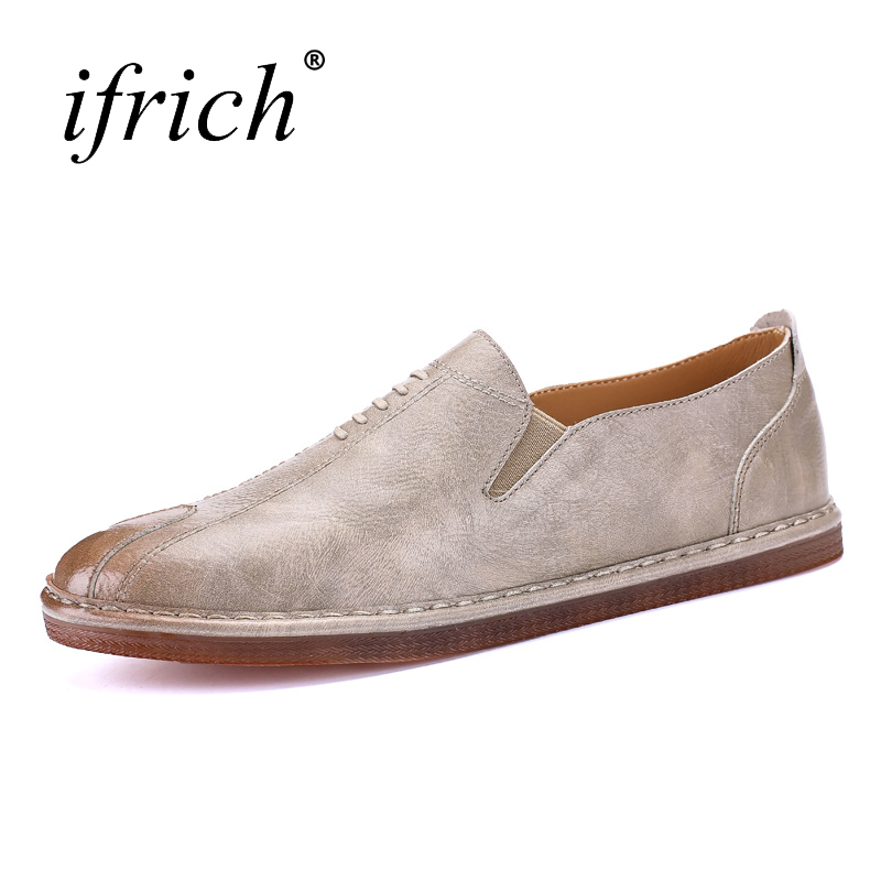Ifrich Spring Summer Leather Men Shoes Luxury Brand Slip-on Black Male Split Leather Shoes Comfortable Man Flat Loafers Footwear prelesty big size spring autumn breathable men luxury brand driving shoes handmade leather loafers casual slip on footwear male