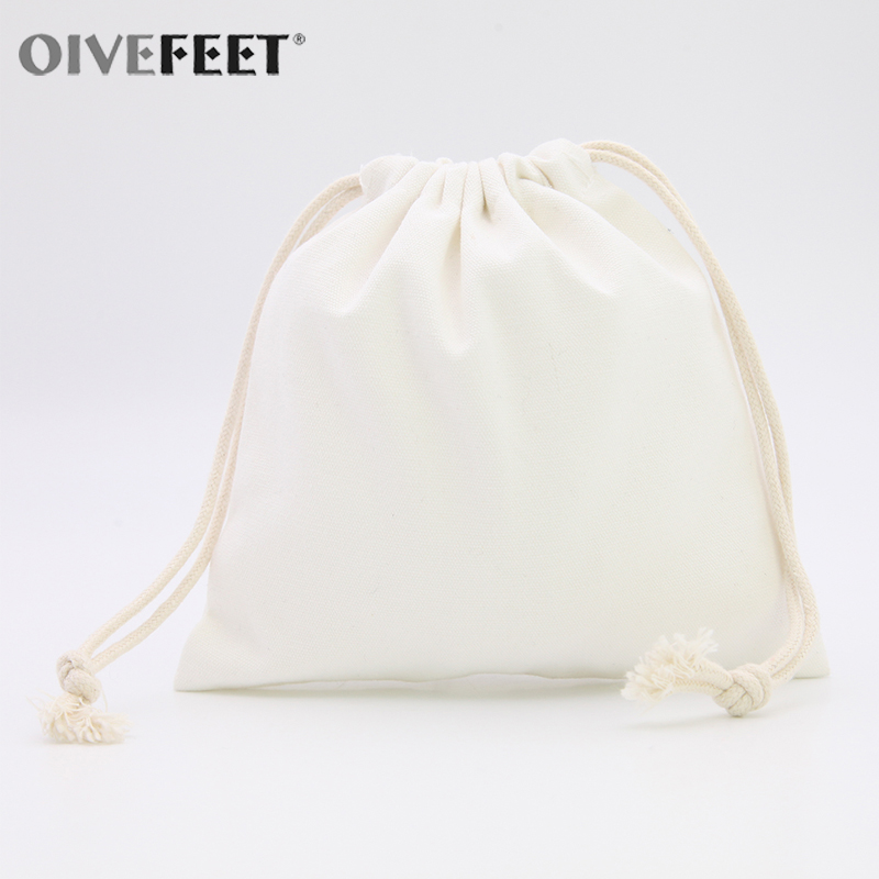 OIVEFEET,100pcs,Plain Nature Cotton Drawstring Bag,Cotton Muslin Bags,Ecofriendly Reuse Drawstring Bag,Custom Logo Accept