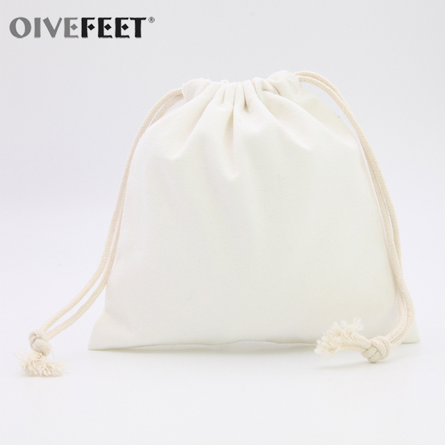 Oivefeet 100pcs Plain Nature Cotton Drawstring Bag Muslin Bags Ecofriendly Reuse