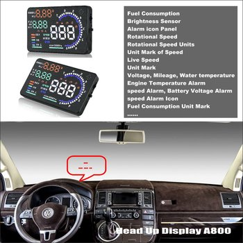 Car HUD Safe Drive Display For Volkswagen Transporter T5 - Reflect car  onto  windshield to maintain Clear headed